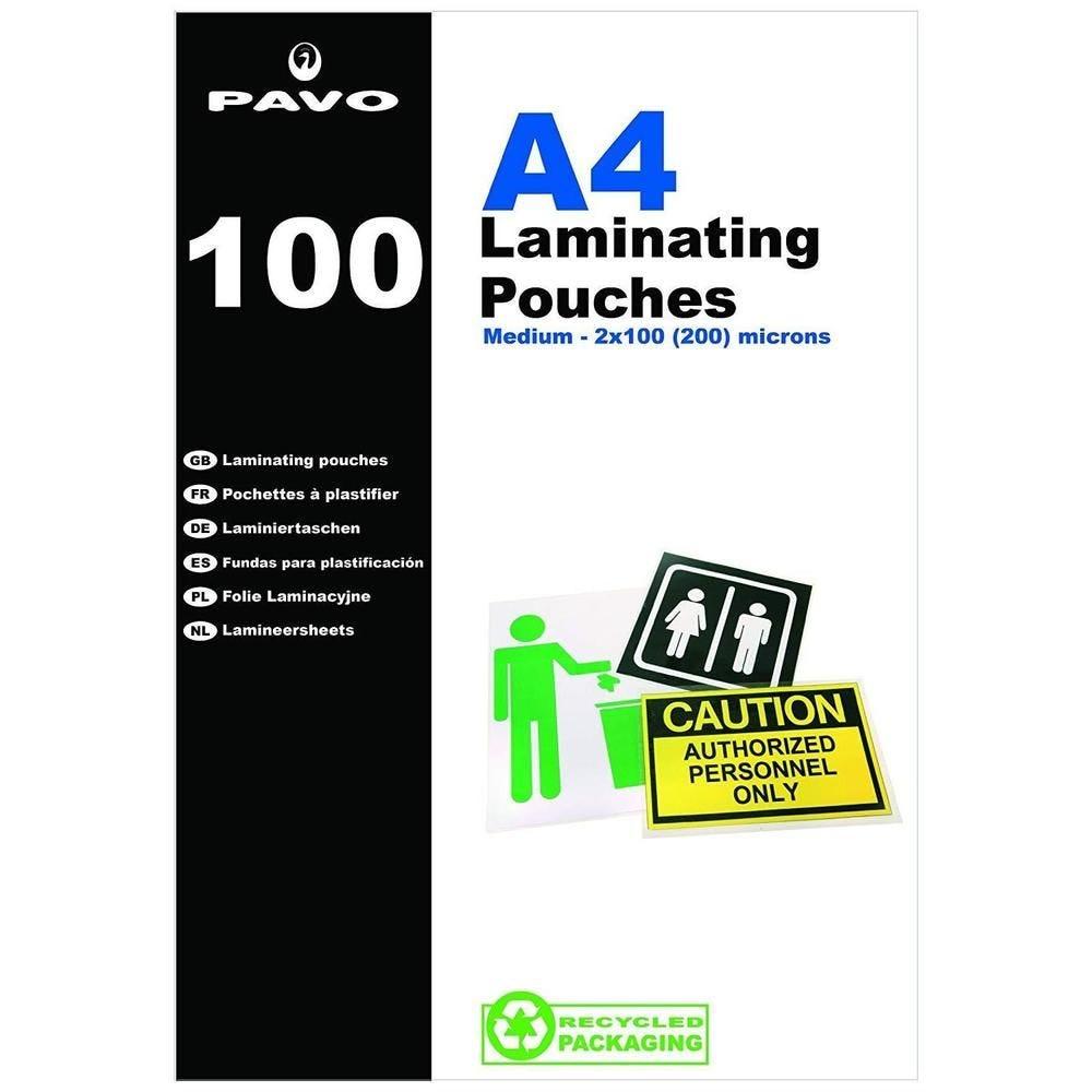 Boîte de 100 Pochettes de plastification à chaud brillante 2 x 100 microns A4… -