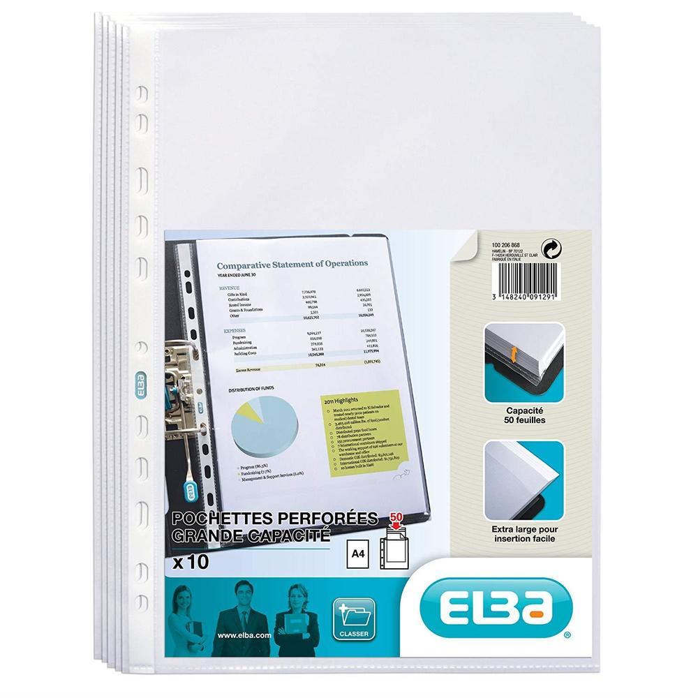 Pochettes perforées Extra PP 0,09mm Lisses Paquet de 10