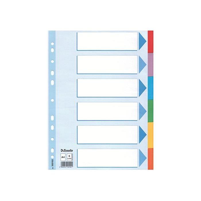 Intercalaire Format A4 Carton 160g 6 onglets Multicolores Renforcées