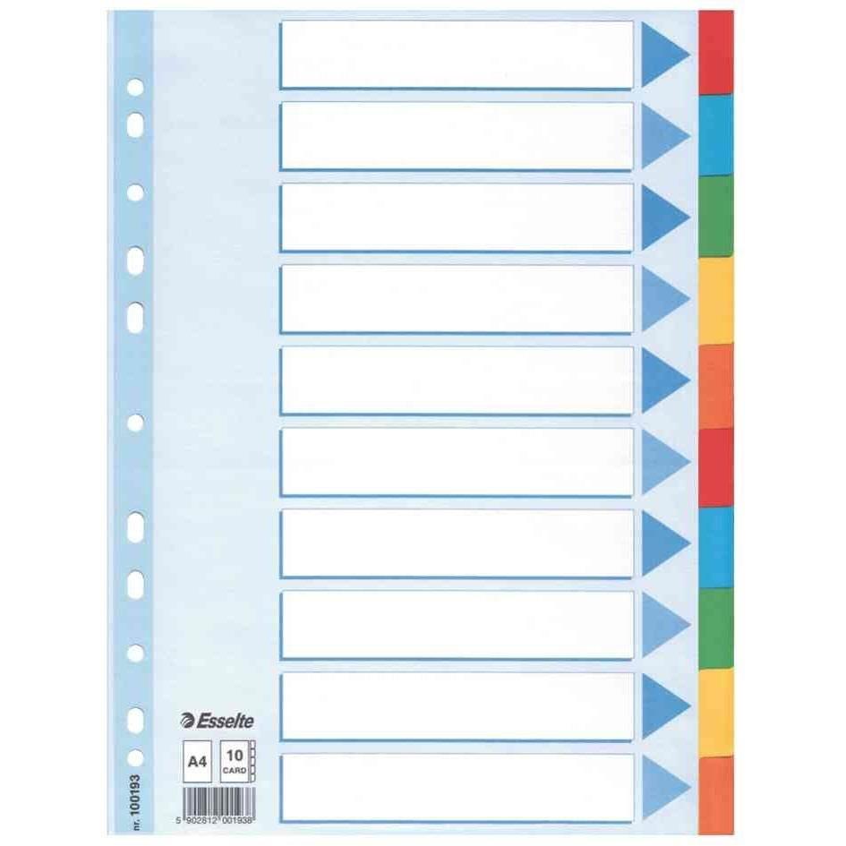 Intercalaire carton 160g blanc A4 Neutre 10 Positions colorées