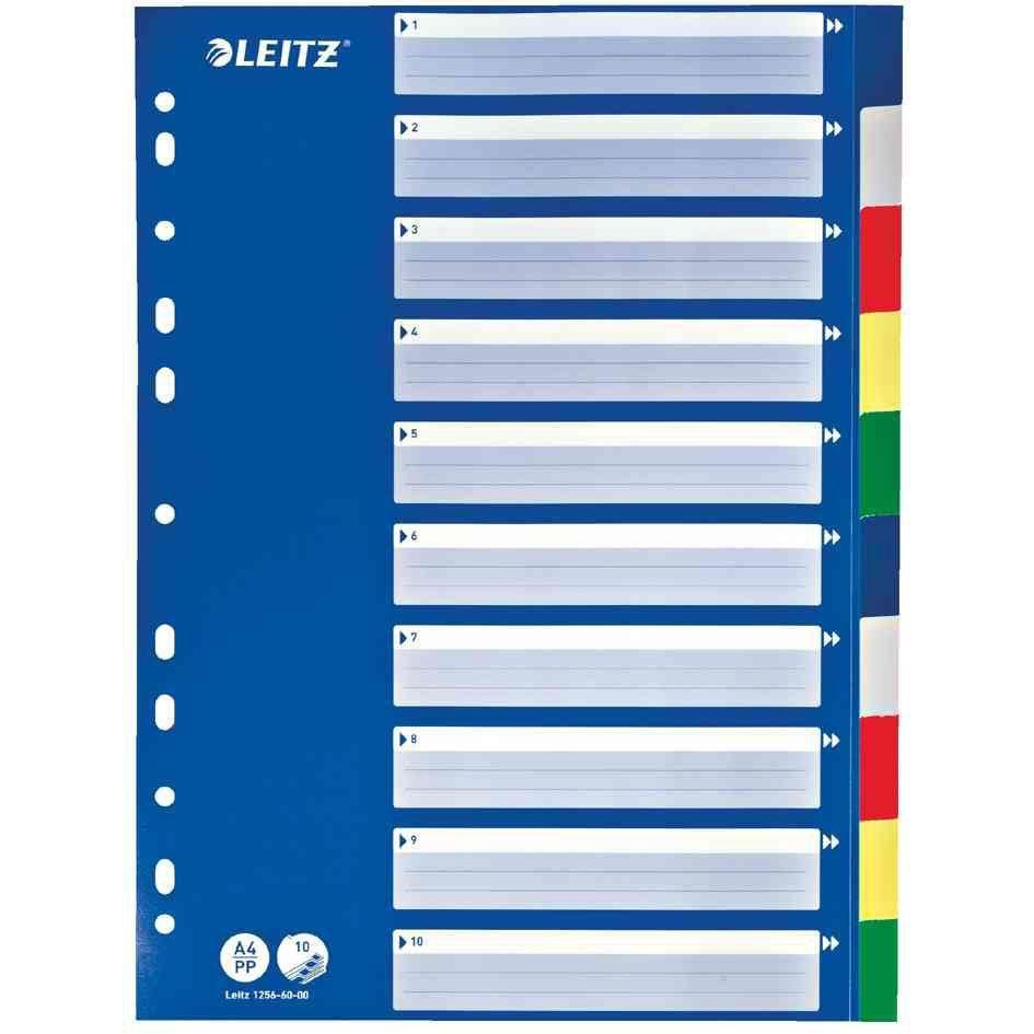 Intercalaire Plastique 12/100 eme A4 10 onglets Colorés