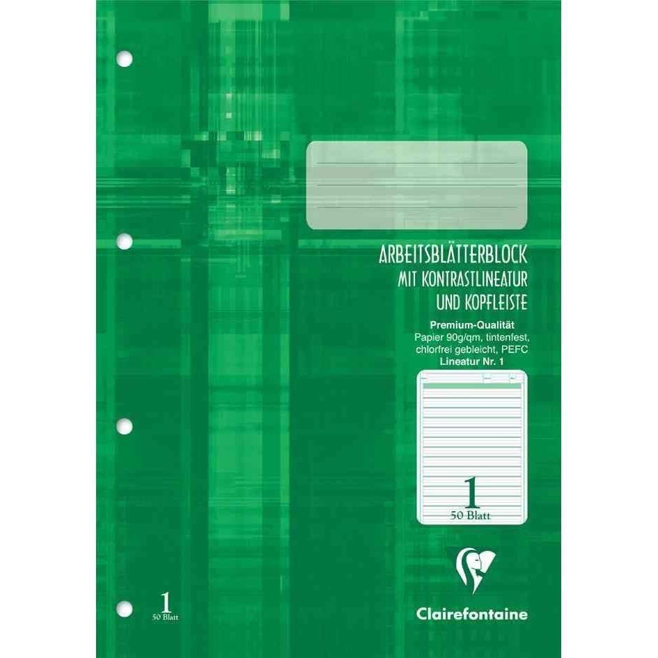 Arbeitsblock, DIN A4, Lineatur 1, 50 Blatt