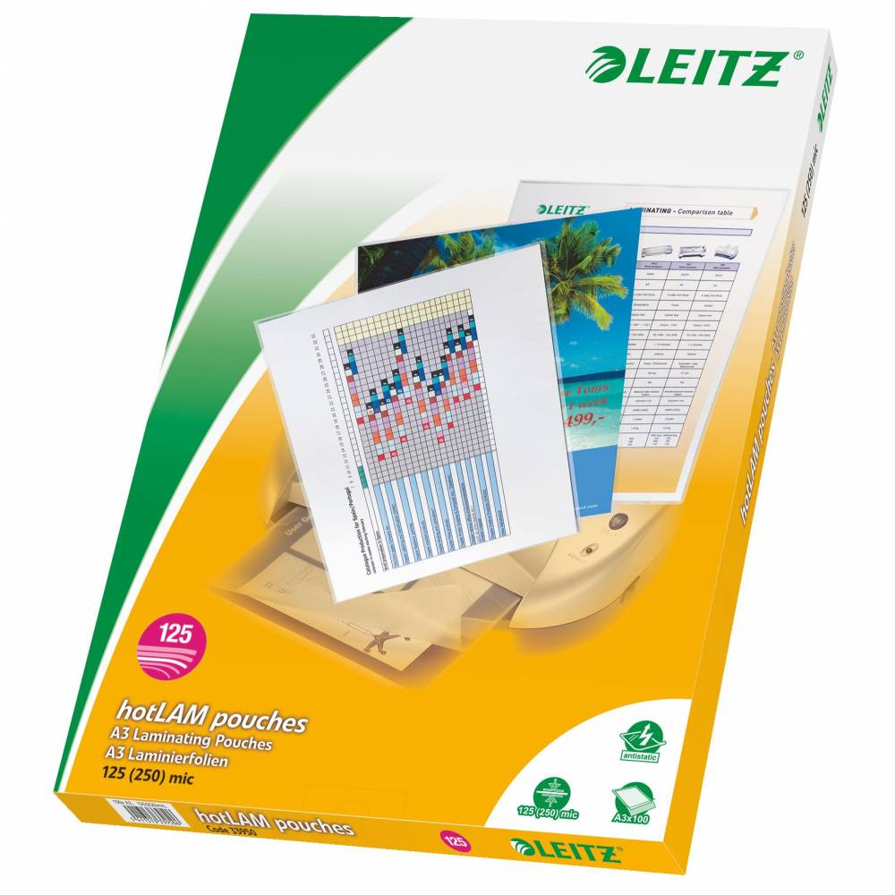 Boîte de 100 Pochettes de Plastification A3 Brillant 250 mic (2x125) - boîte de