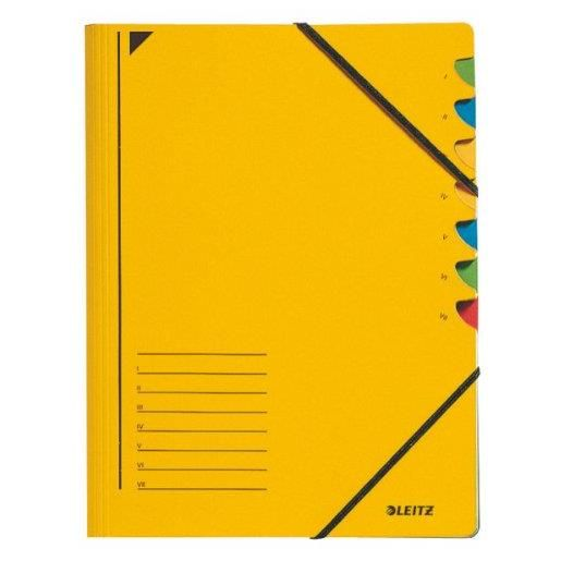 Classeur trieur, format A4, 7 compartiments, jaune