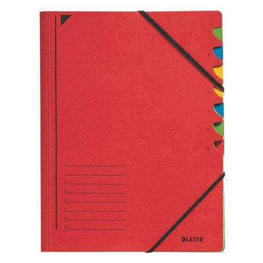 Classeur trieur, format A4, 7 compartiments Rouge