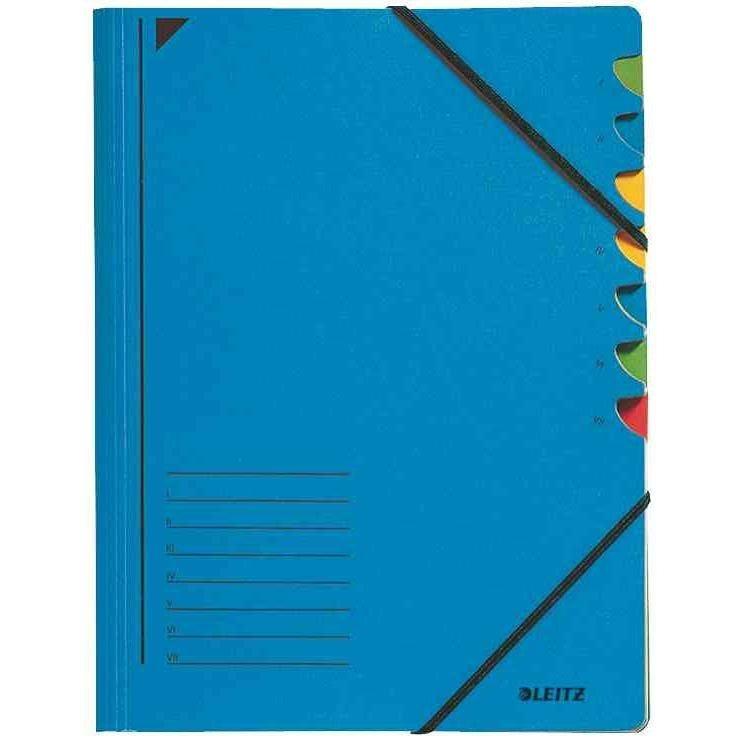 Classeur trieur, A4, carton, 7 compartiments, bleu