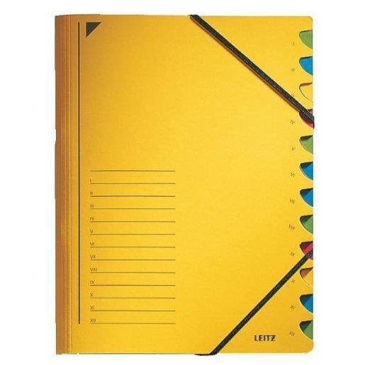 Classeur trieur, format A4, 12 compartiments jaune