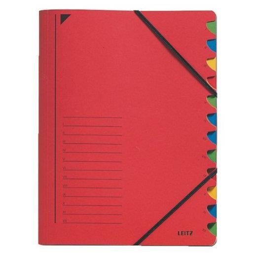 Classeur trieur, format A4, 12 compartiments rouge