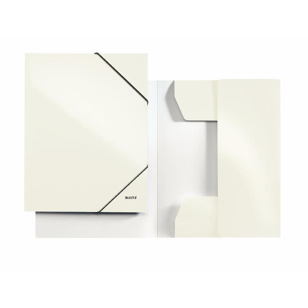 Chemise à élastique WOW, A4, carton, blanc de perle