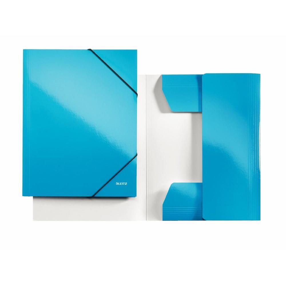 Chemise à élastique WOW, A4, carton, bleu métallique