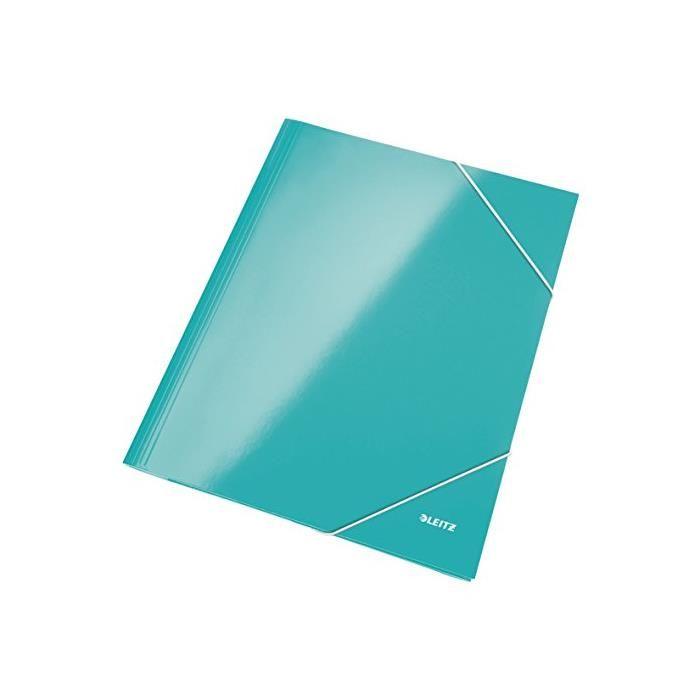 Chemise 3 Rabats Elastique WOW A4 Carton Pelliculé Bleu glacé