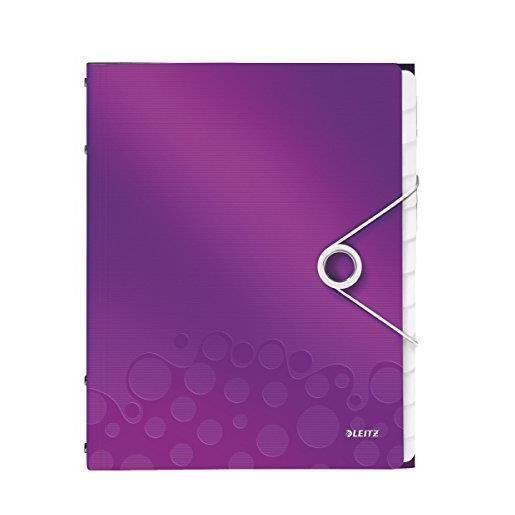 Trieur WOW Polypro A4 12 compartiments Violet métallisé