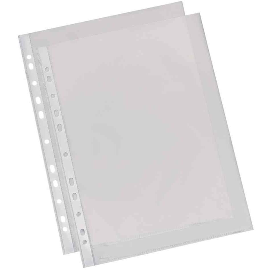 Pochettes perforées A4 en polypropylène lisse 4/100e incolore - Sachet de 100