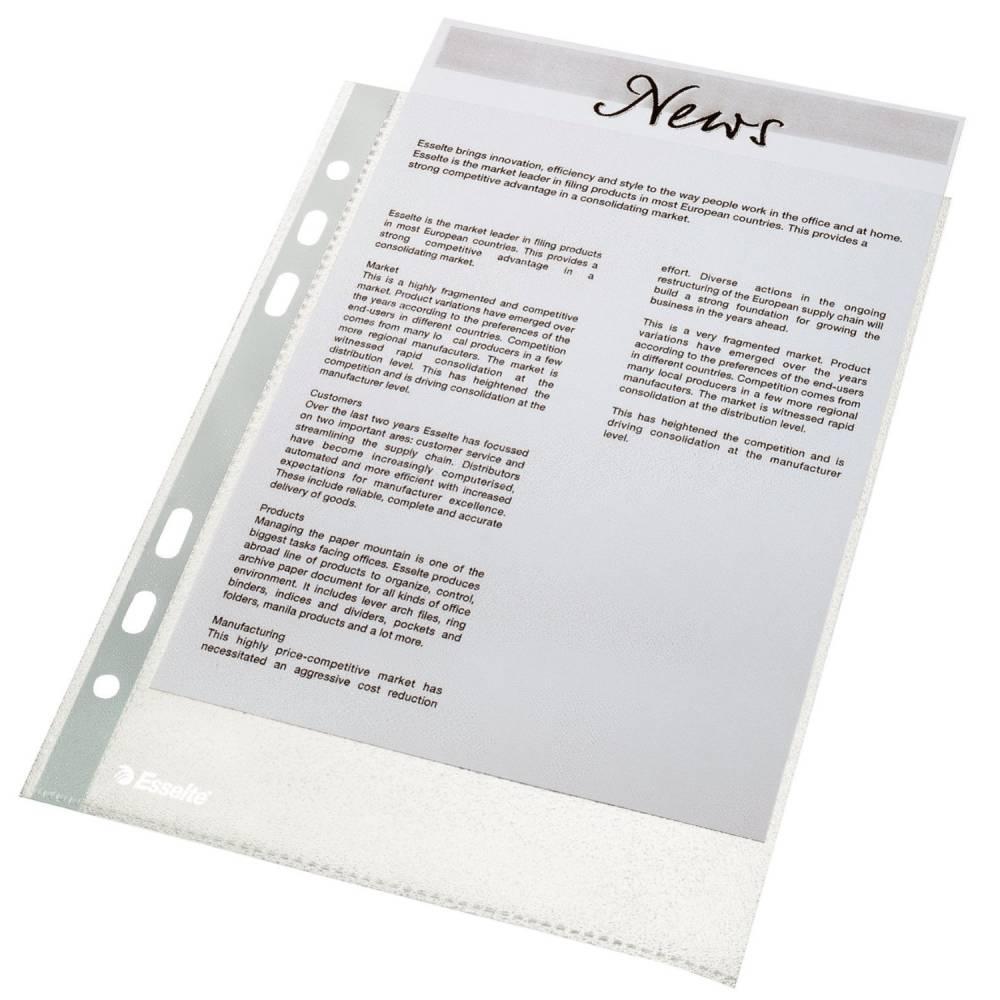 Pochettes perforées Economy A5 PP grainée 0,05 mm Transparentes - Sachet de 100
