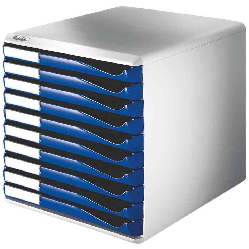 Module de classement, 10 tiroirs, gris-clair/bleu