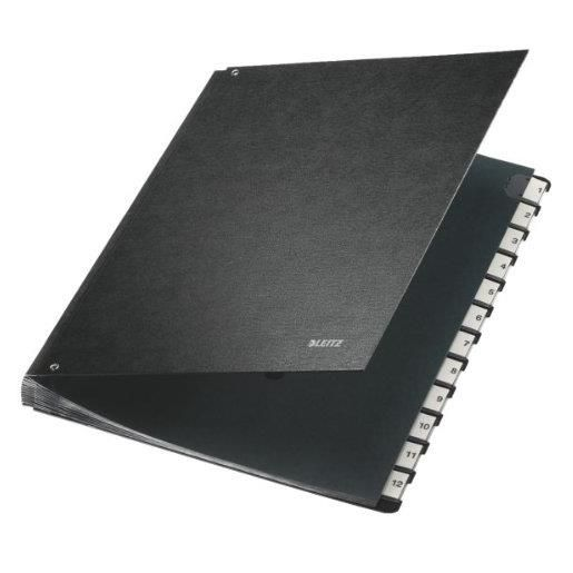 classeur trieur carton 1-12 12 compartiments Noir