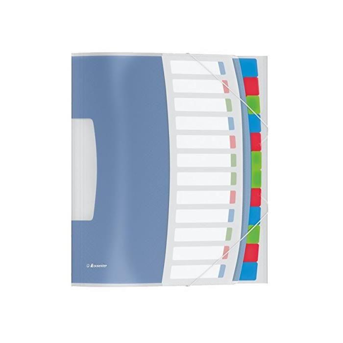 Trieur VIVIDA A4 PP 12 touches, multicolore pochette de protection 3 rabats