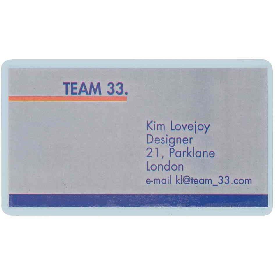 Etui plastification pour cartes de visite 60x90 mm 2x125mic Pack de 100