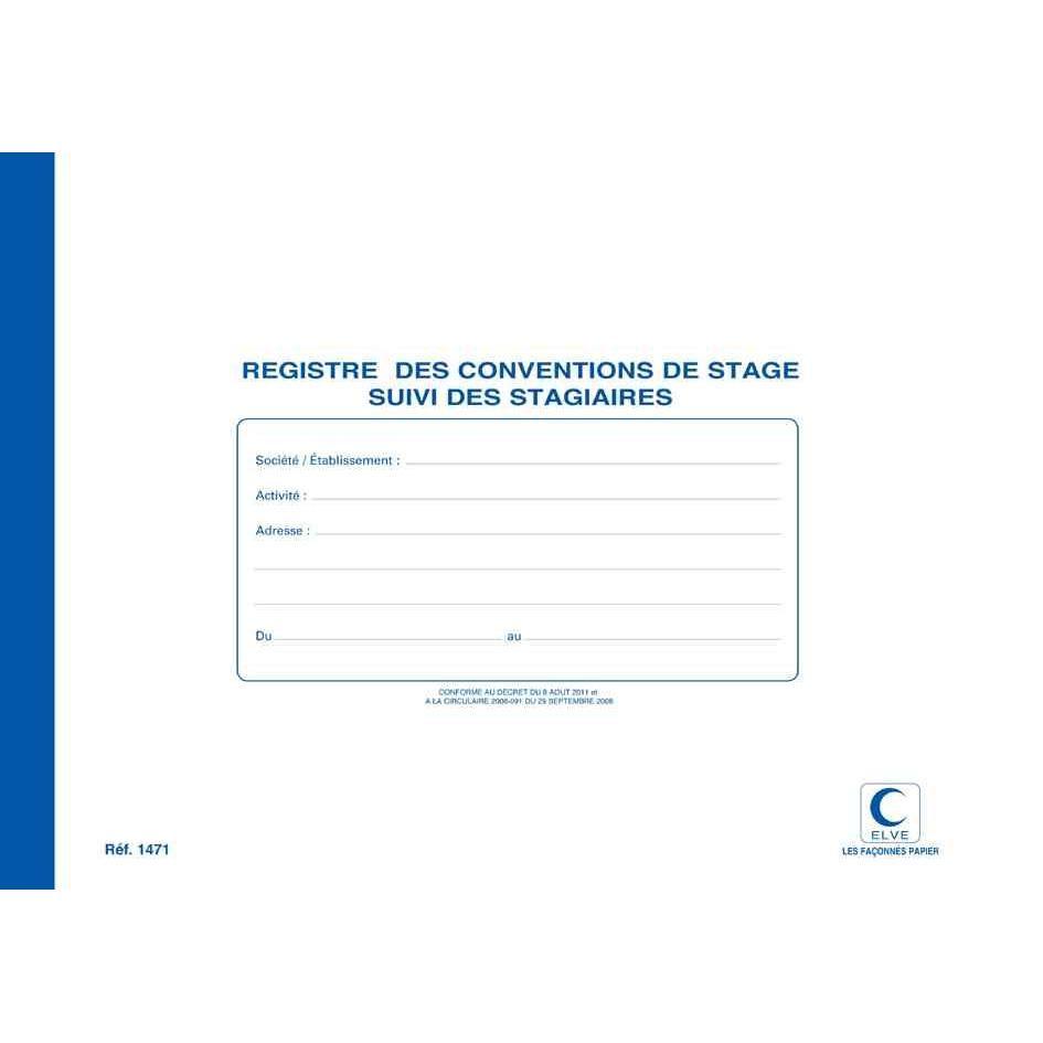 Registre 'Conventions de stage' 210 x 297 mm 48 pages