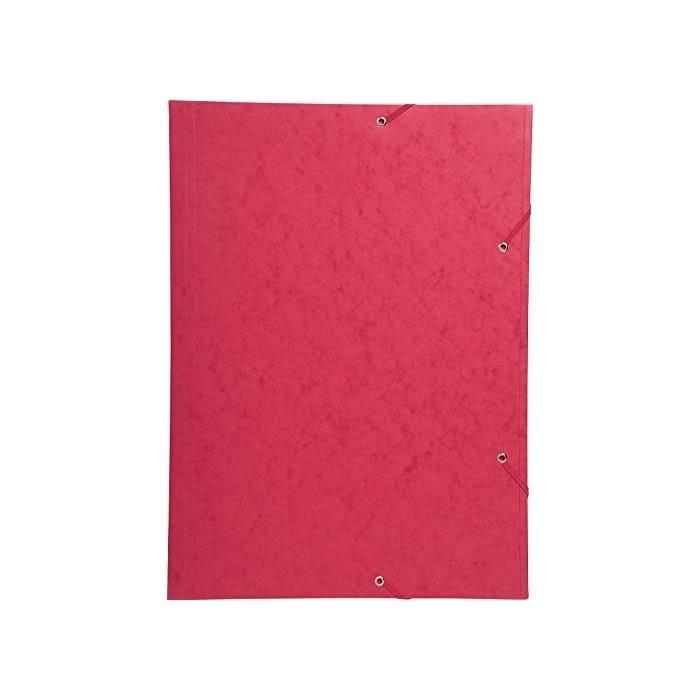 Chemise 3 Rabats et élastique Carte 600g A3 Rouge