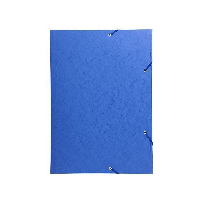 Chemise 3 Rabats et élastique Carte 600g A3 Bleu