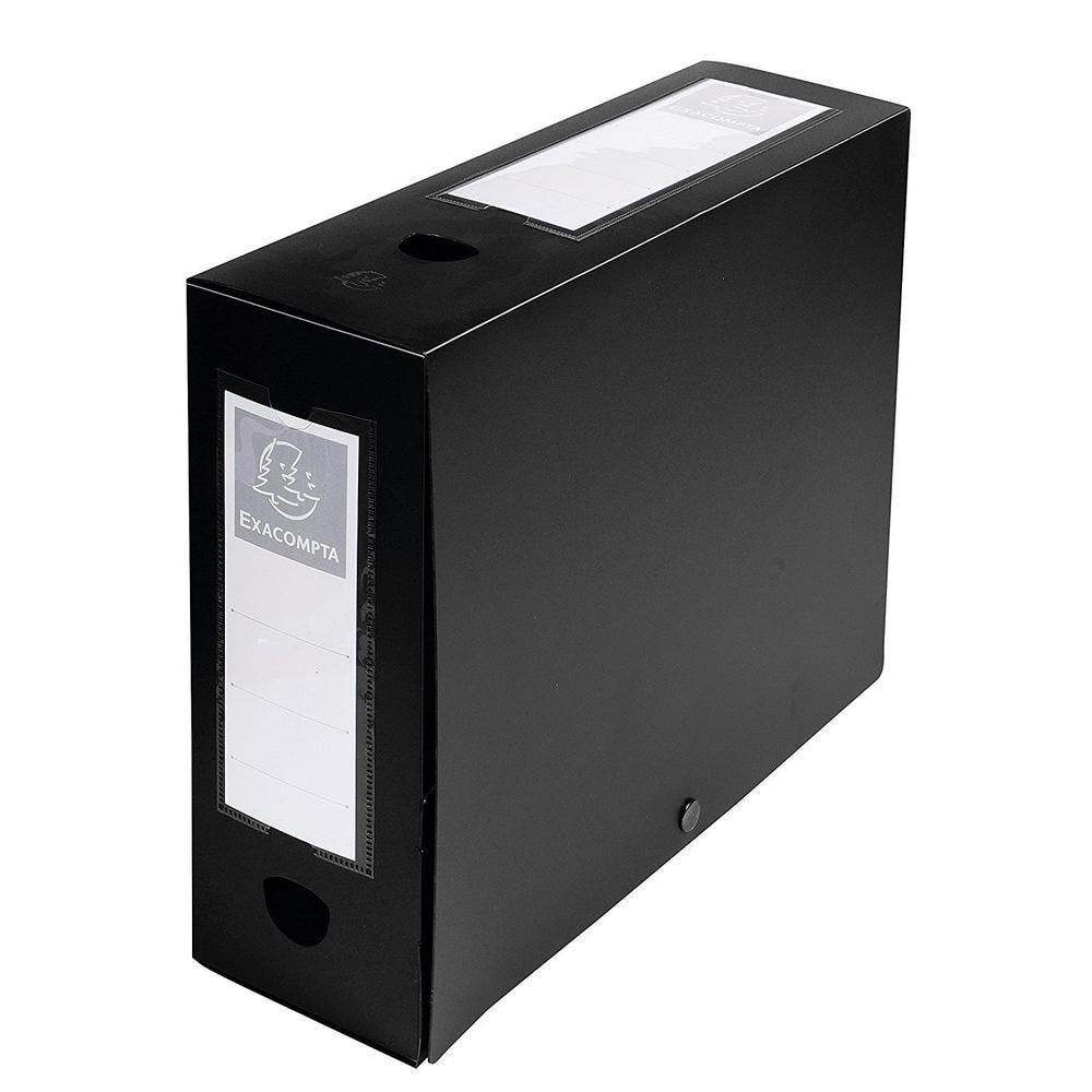 Boîte d'archives à pression en PP 7/10eme Dos de 100 m Noir