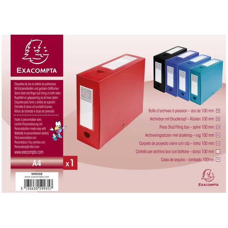 Boîte d'archives à pression, PP, 100 m, rouge