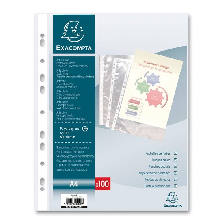 Pochettes perforées PP lisse 6/100° A4 - Sachet de 25