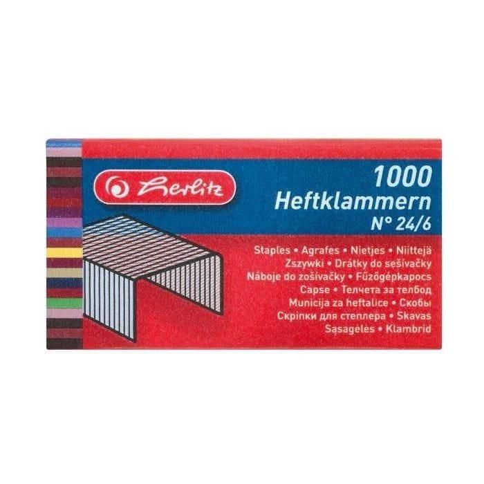 Boite de 1000 Agrafes 24/6, en métal - boîte de 1000
