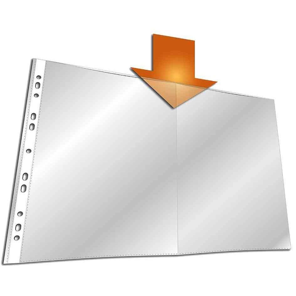 Pochettes perforées A3 oblong PP Transparent Plié A4 - Sachet de 10