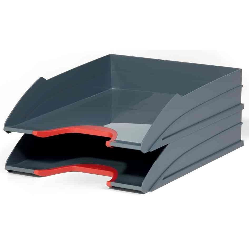 Kit de 2 bacs à courrier VARIOCOLOR, gris / rouge