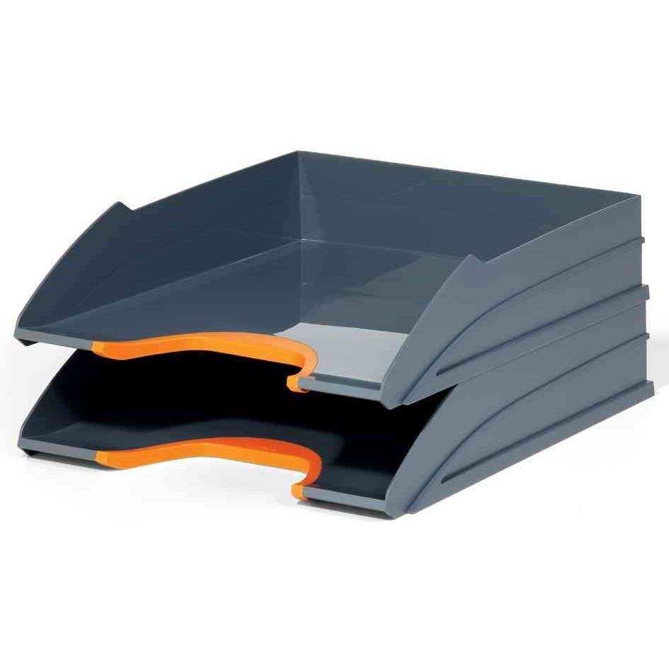 Kit de 2 bacs à courrier VARIOCOLOR, gris / orange
