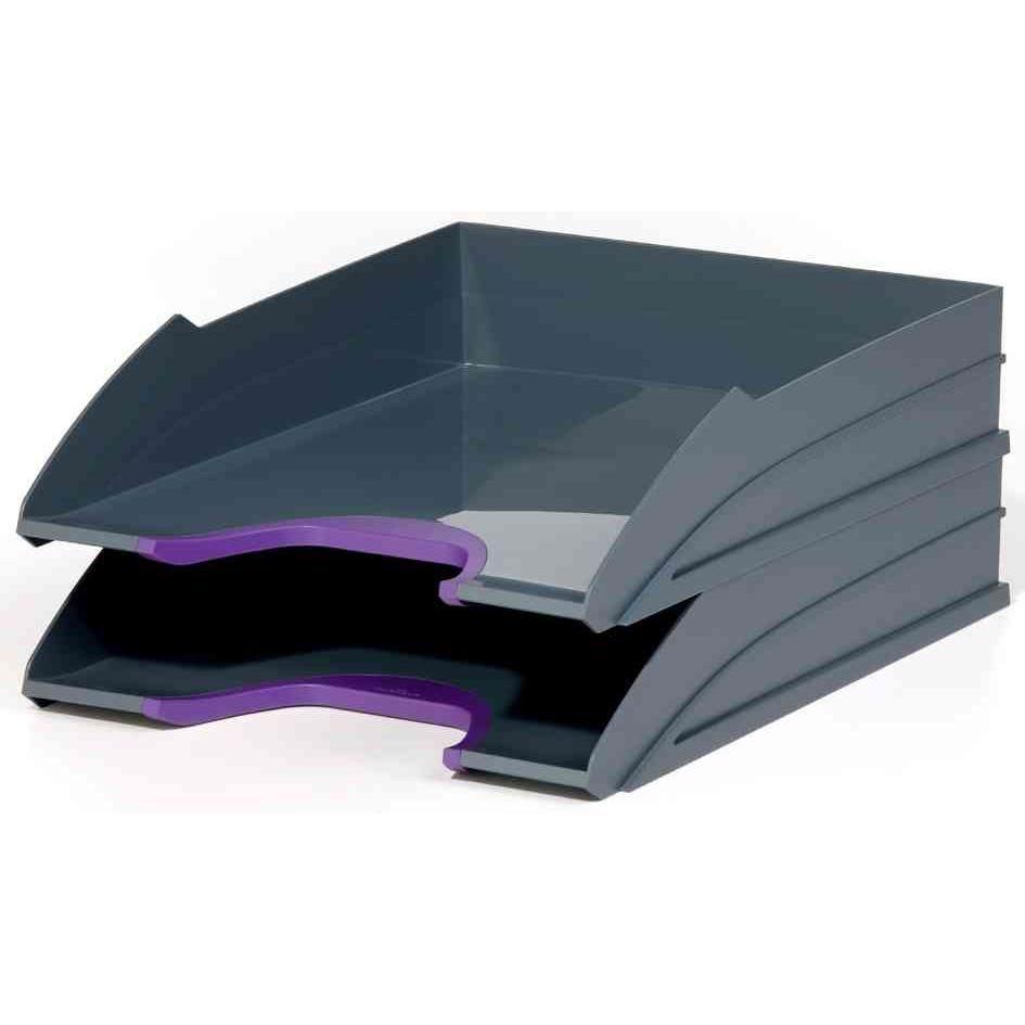 Kit de 2 bacs à courrier VARIOCOLOR, gris / lilas