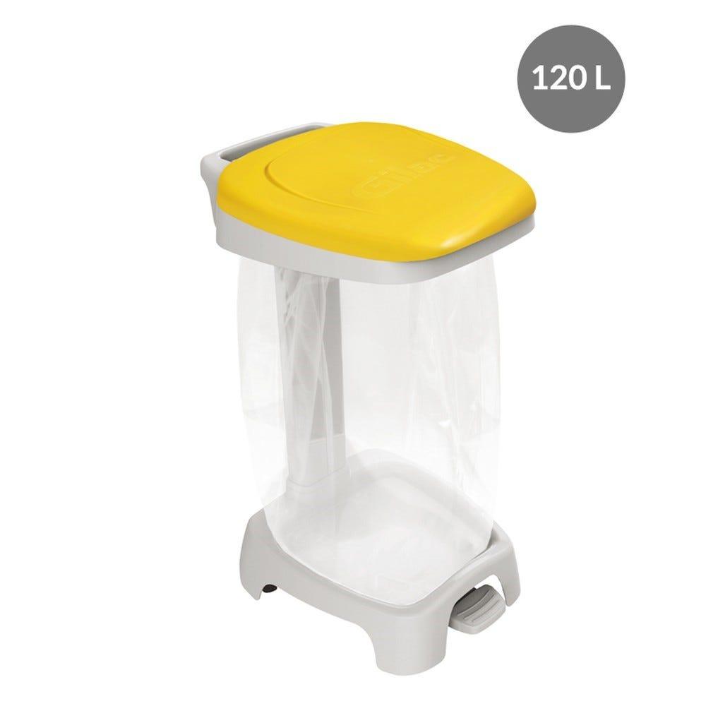 Support sac 120 litres avec couvercle jaune