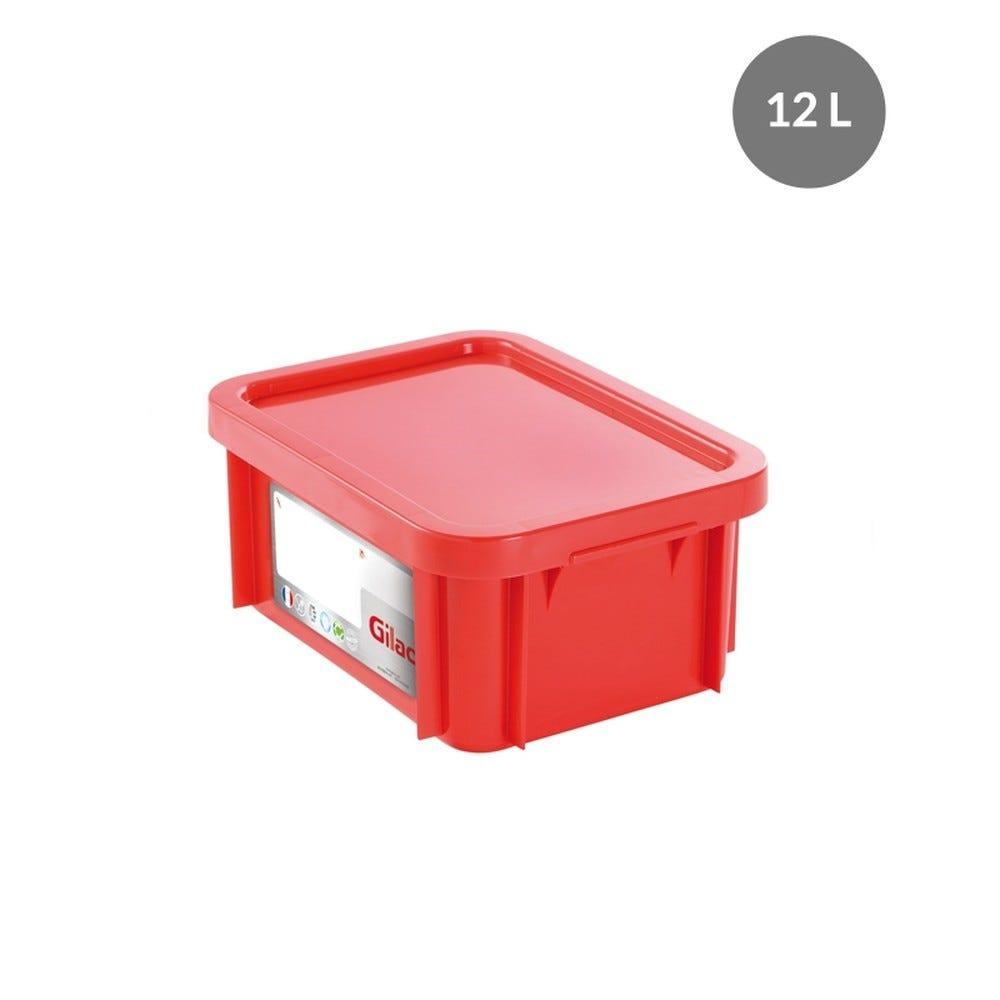 Bac rectangulaire haccp + couvercle 12 litres coloris rouge - gilac