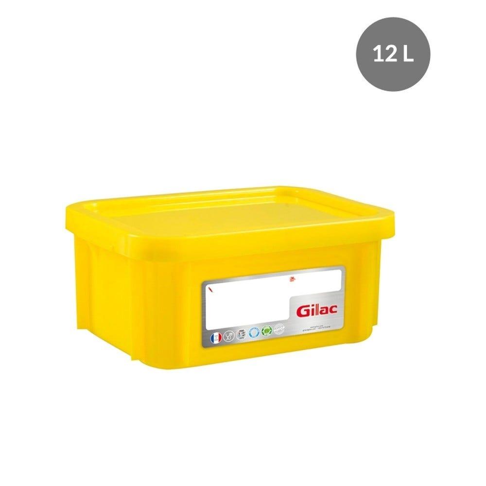 Bac rectangulaire haccp + couvercle 12 litres coloris jaune - gilac