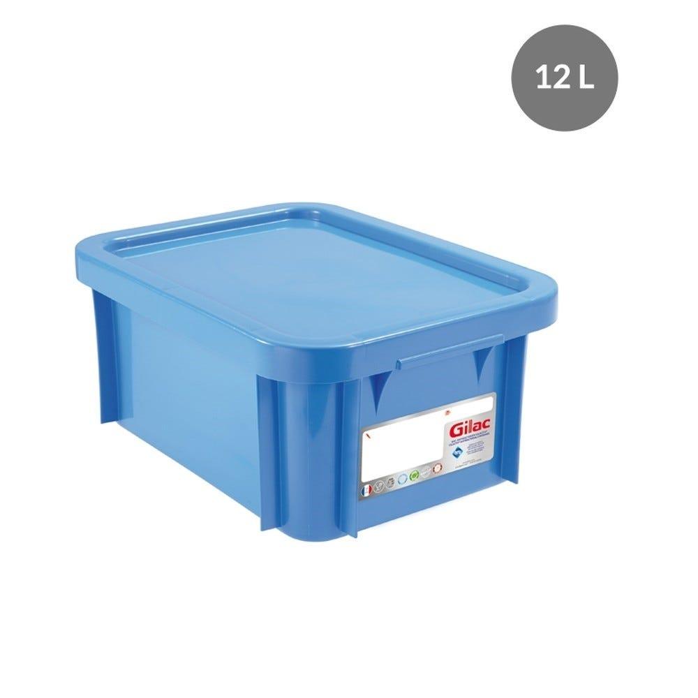 Bac antibactérien + couvercle 12 litres coloris bleu - gilac (photo)