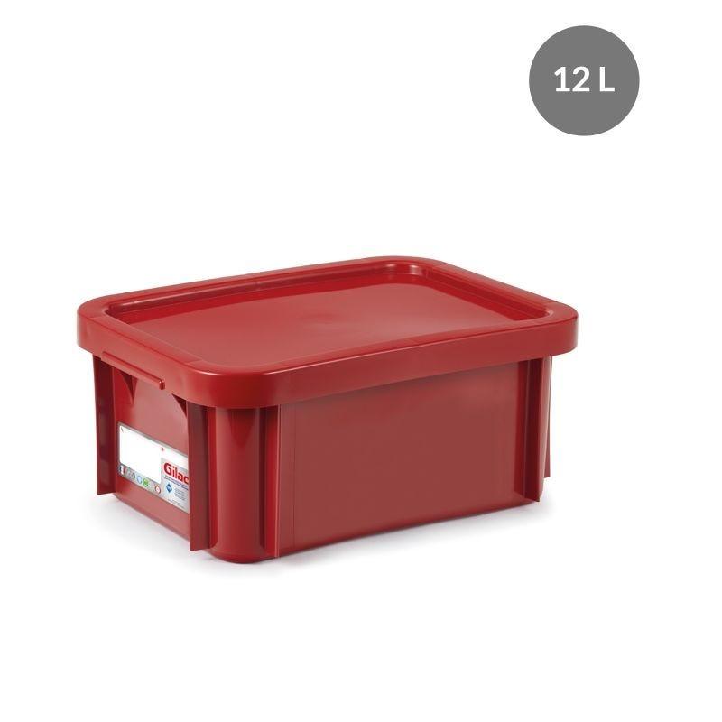 Bac antibactérien + couvercle 12 litres coloris rouge - gilac (photo)