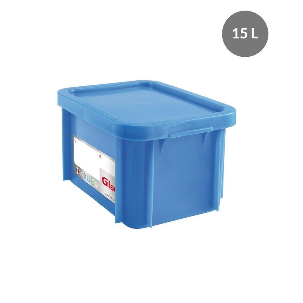Bac rectangulaire haccp + couvercle 15 litres coloris bleu - gilac