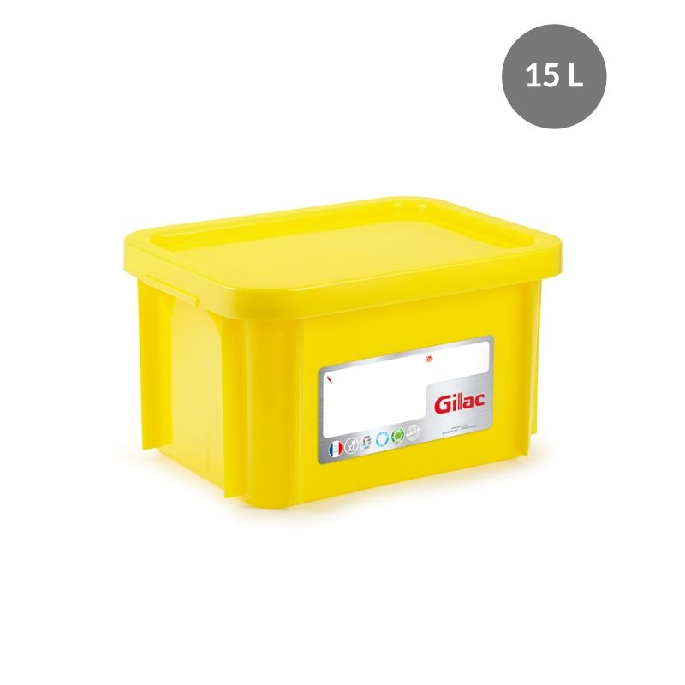 Bac rectangulaire haccp + couvercle 15 litres coloris jaune - gilac