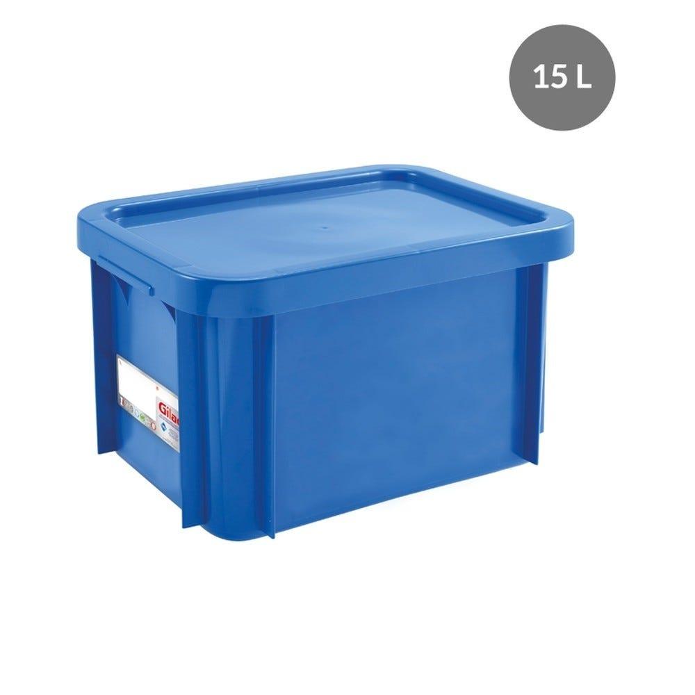 Bac antibactérien + couvercle 15 litres coloris bleu - gilac (photo)
