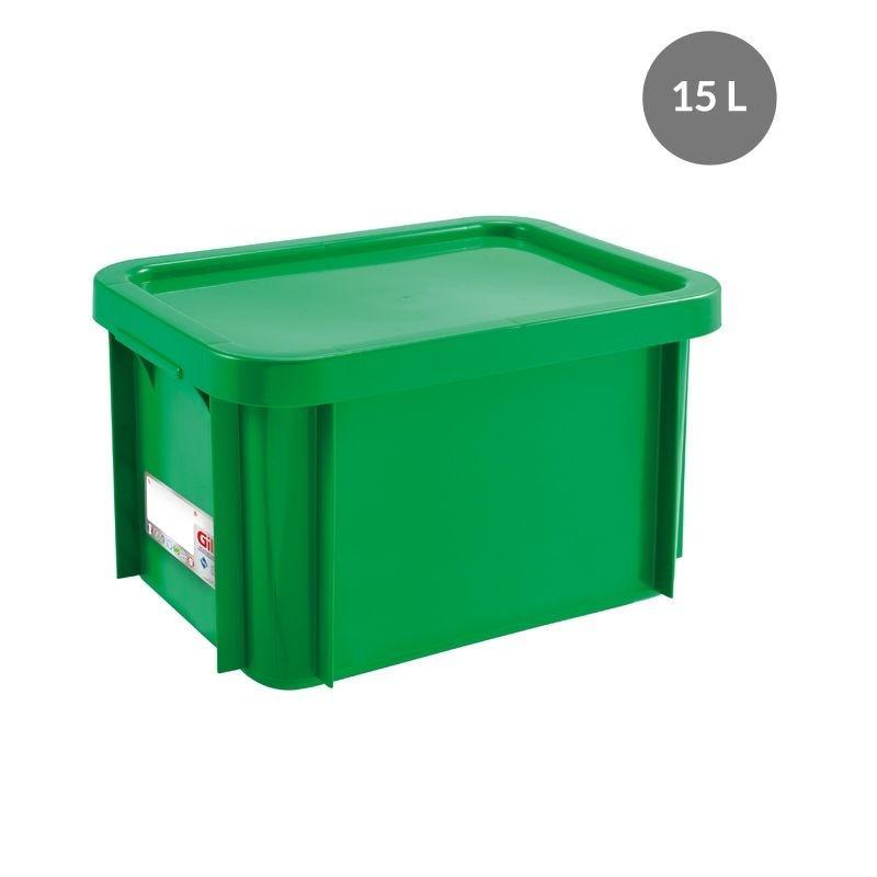 Bac antibactérien + couvercle 15 litres coloris vert (photo)