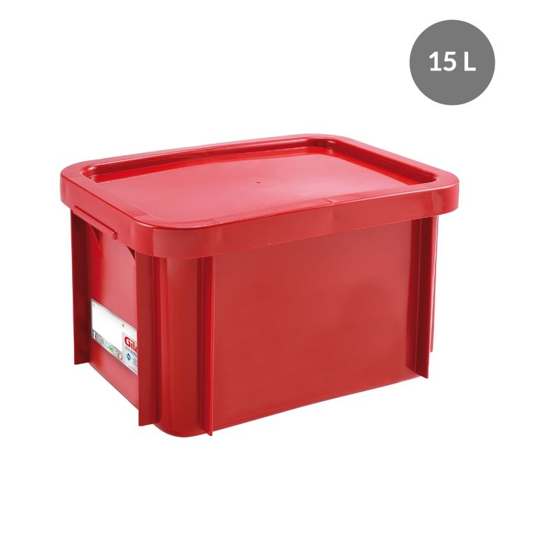 Bac antibactérien + couvercle 15 litres coloris rouge - gilac (photo)