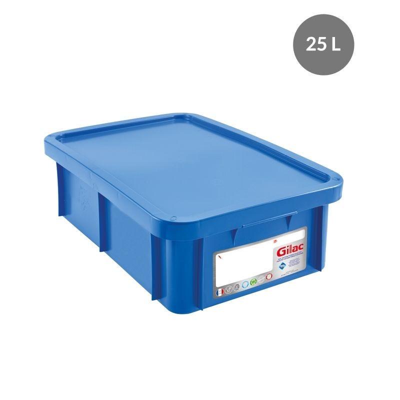 Bac antibactérien + couvercle 25 litres coloris bleu - gilac (photo)