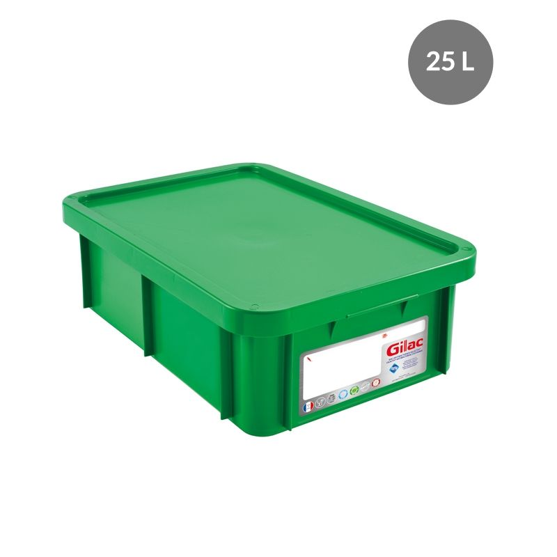 Bac antibactérien + couvercle 25 litres coloris vert (photo)