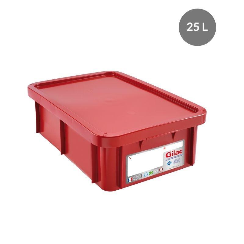 Bac antibactérien + couvercle 25 litres coloris rouge - gilac (photo)