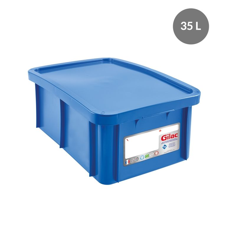 Bac antibactérien + couvercle 35 litres coloris bleu (photo)