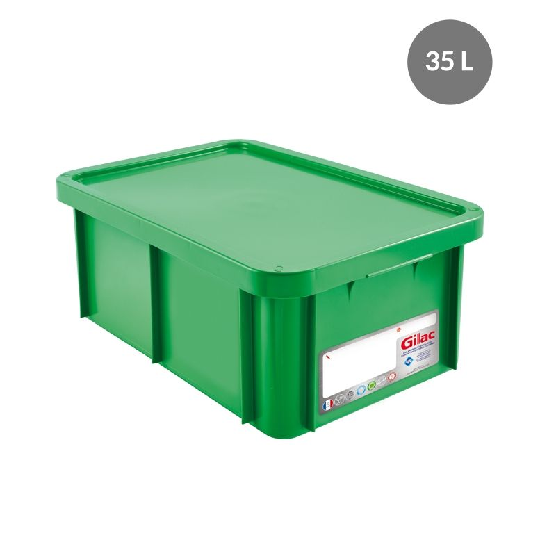 Bac antibactérien + couvercle 35 litres coloris vert - gilac (photo)