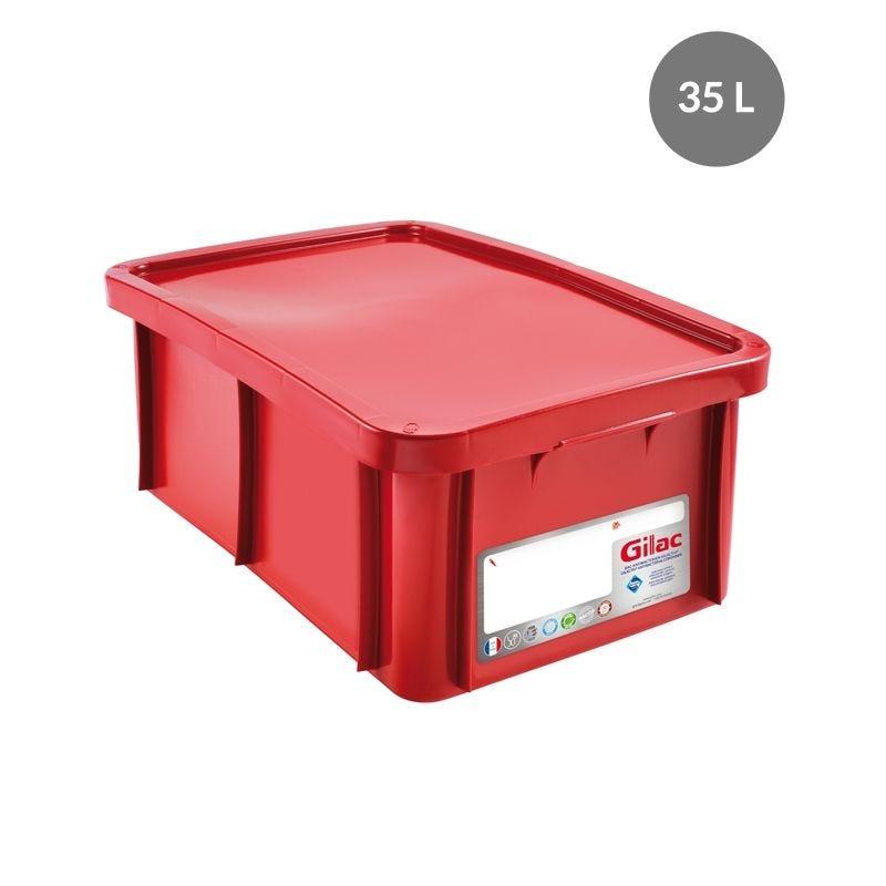 Bac antibactérien + couvercle 35 litres coloris rouge - gilac (photo)
