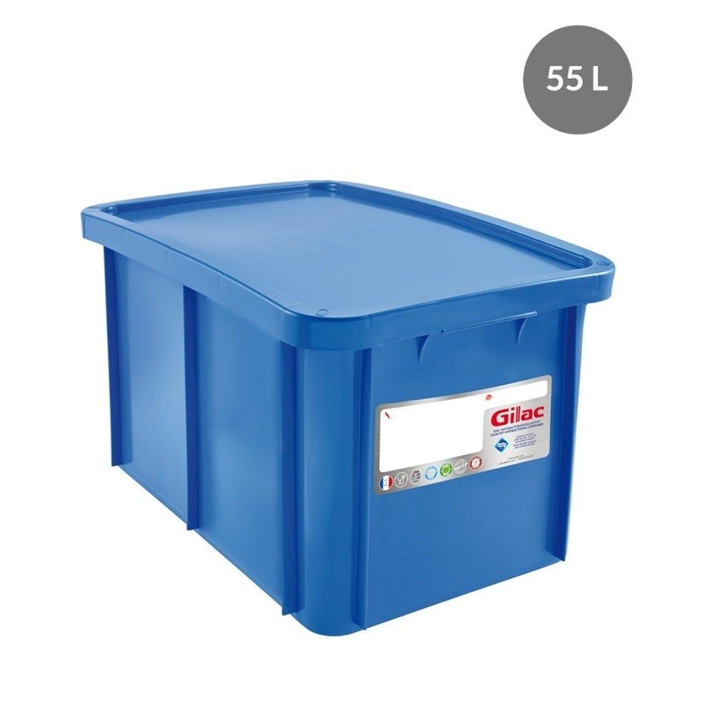 Bac + couvercle 55 litres coloris bleu antibactérien - gilac (photo)